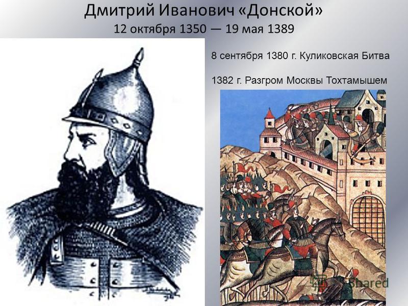 Дмитрий Иванович «Донской» 12 октября 1350 19 мая 1389 8 сентября 1380 г. Куликовская Битва 1382 г. Разгром Москвы Тохтамышем