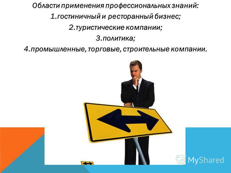 Области применения профессиональных знаний: 1. гостиничный и ресторанный бизнес; 2. туристические компании; 3.политика; 4.промышленные, торговые, строительные компании.