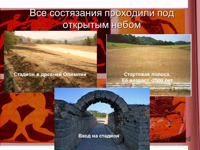 Все состязания проходили под открытым небом Вход на стадион Стадион в древней Олимпии Стартовая полоса. Её возраст -2500 лет
