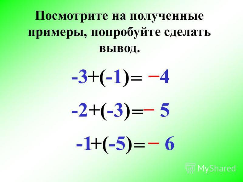 -3+(-1) = 4 -2+(-3) = 5 (-5) 6+ = Посмотрите на полученные примеры, попробуйте сделать вывод.