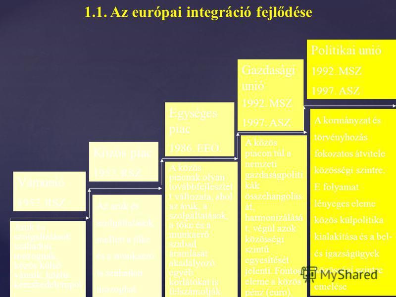 { 1.1. Az európai integráció fejlődése 2001. Nizzai Szerződés (2003. 02. 01.) Célkitűzés: – A közösségi döntéshozatal hatékonyabbá tétele A többségi döntéshozatal kiterjesztése a tagállami vétó visszaszorítása A többségi döntéshozatal kiterjesztése a