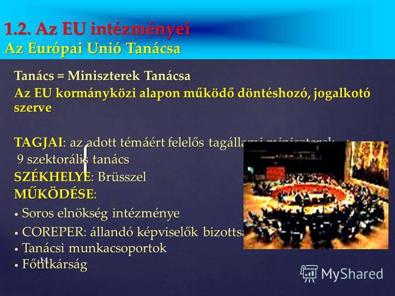 13 1.2. Az Európai Unió intézményei Az Európai Unió Tanácsa Az Európai Tanács Az Európai Bizottság Az Európai Parlament Az Európai Közösségek Bírósága Az Európai Számvevőszék Gazdasági és Szociális Bizottság Régiók Bizottsága Európai Beruházási Bank