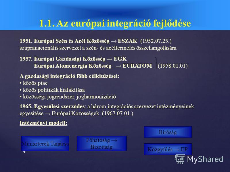 3 1.1. Az európai integráció fejlődése ESZAK 1951.Párizs az integráció kialakulása Az integráció mélyülése EGK EURATOM 1957. Róma 19451957 1973 Európai Közösségek EK Egyesülési szerződés 1965. Európai Monetáris Rendszer 1979. Fehér Könyv 1985. az int