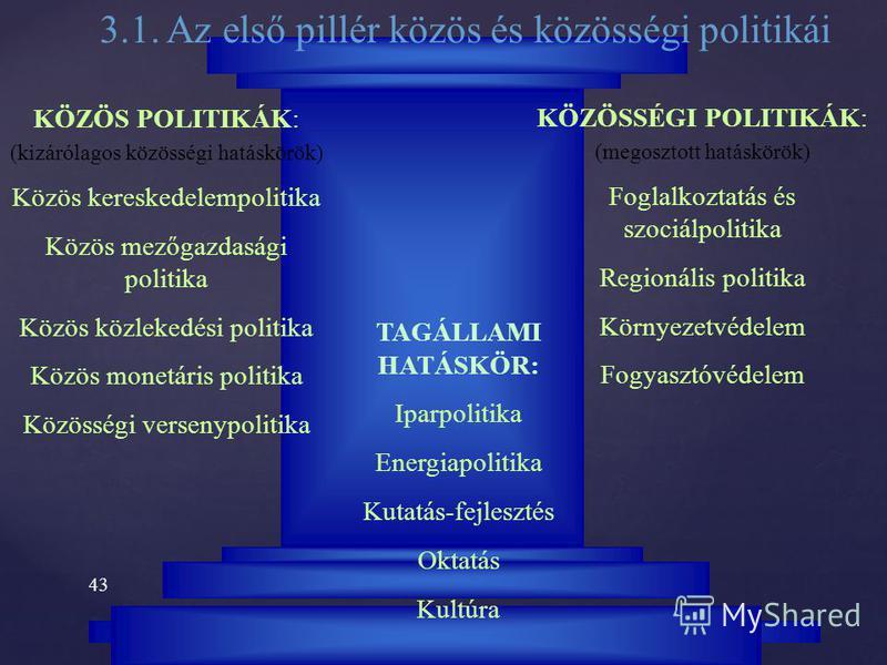 42 3. Az EU politikái 3.1. Az első pillér közös és közösségi politikái 3.2. A második pillér kül- és biztonságpolitikája 3.3. A harmadik pillér rendőrségi és bűnügyi együttműködése