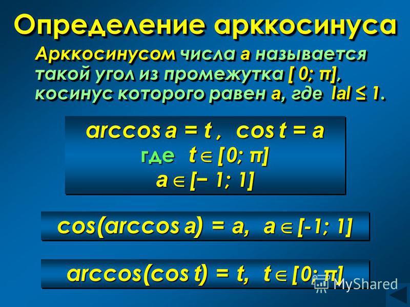 Определение арккосинуса Арккосинусом числа а называется такой угол из промежутка [ 0; π], косинус которого равен а, где l а l 1. Арккосинусом числа а называется такой угол из промежутка [ 0; π], косинус которого равен а, где l l l lаl 1. arccos a = t