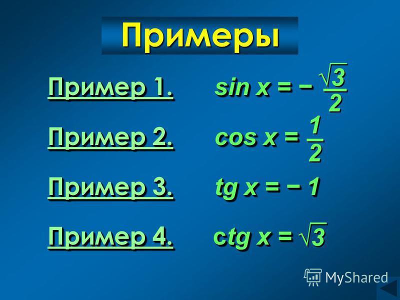Примеры 1. Пример 1. sin x = Пример 1. sin x = Пример 1. Пример 2. Пример 2. cos x = Пример 2. Пример 3. Пример 3. tg x = 1 Пример 3. Пример 4. Пример 4. ctg x = Пример 4. Пример 1. Пример 1. sin x = Пример 1. sin x = Пример 1. Пример 2. Пример 2. co