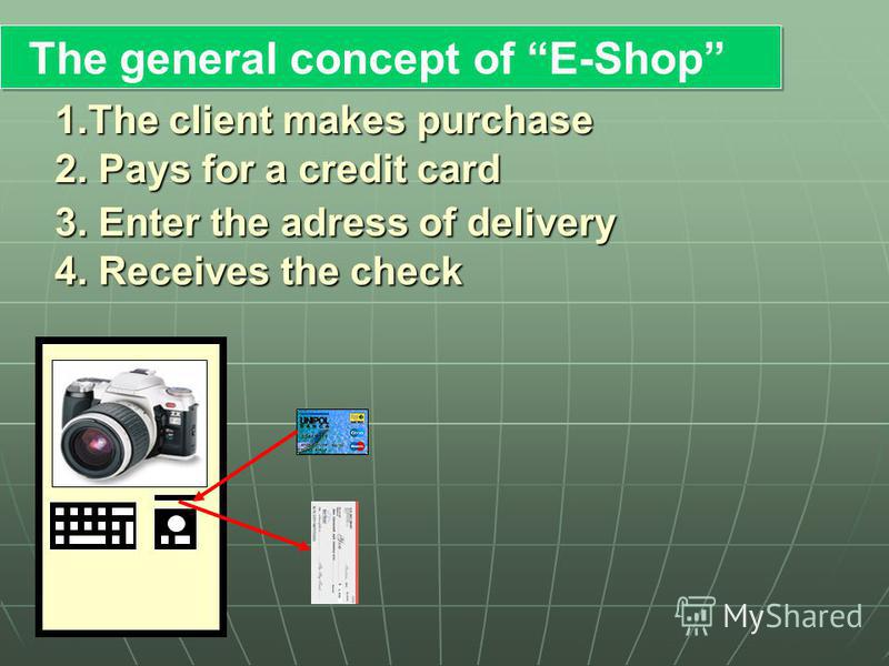 The general concept of E-Shop 1.The client makes purchase 2. Pays for a credit card 3. Enter the adress of delivery 4. Receives the check