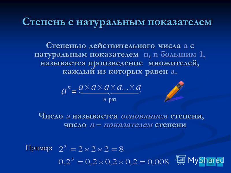 Степень с натуральным показателем Степень с натуральным показателем Степенью действительного числа a с натуральным показателем n, n большим 1, называется произведение множителей, каждый из которых равен a. = Число а называется основанием степени, чис