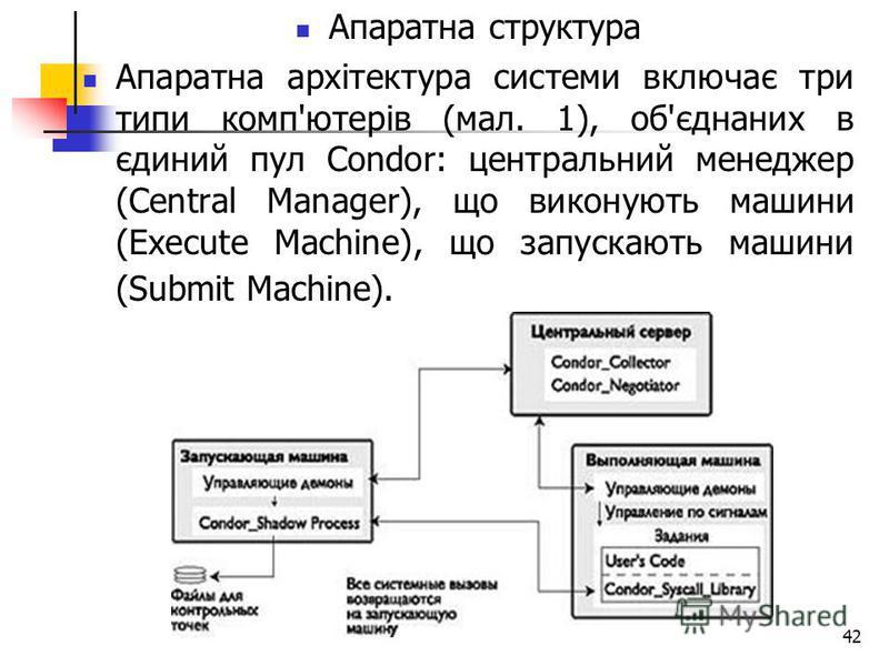 42 Апаратна структура Апаратна архітектура системи включає три типи комп'ютерів (мал. 1), об'єднаних в єдиний пул Condor: центральний менеджер (Central Manager), що виконують машини (Execute Machine), що запускають машини (Submit Machine).