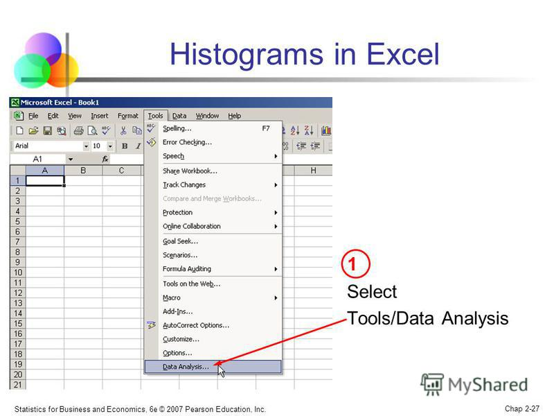 Statistics for Business and Economics, 6e © 2007 Pearson Education, Inc. Chap 2-27 Histograms in Excel Select Tools/Data Analysis 1