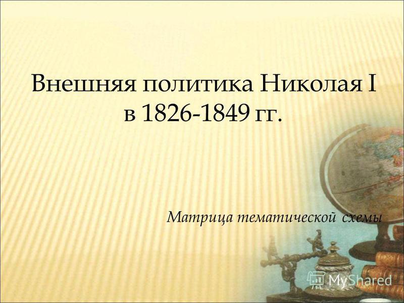 Внешняя политика Николая I в 1826-1849 гг. Матрица тематической схемы