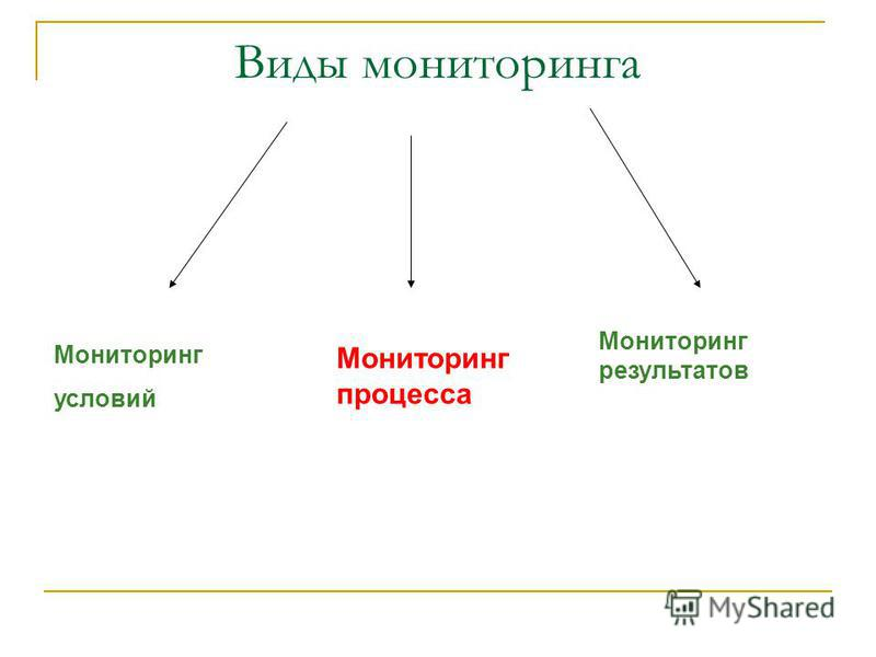 Виды мониторинга Мониторинг условий Мониторинг процесса Мониторинг результатов