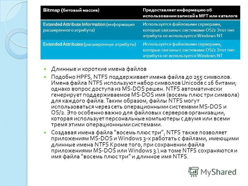 Длинные и короткие имена файлов Подобно HPFS, NTFS поддерживает имена файла до 255 символов. Имена файла NTFS используют набор символов Unicode с 16 битами ; однако вопрос доступа из MS-DOS решен. NTFS автоматически генерирует поддерживаемое MS-DOS и