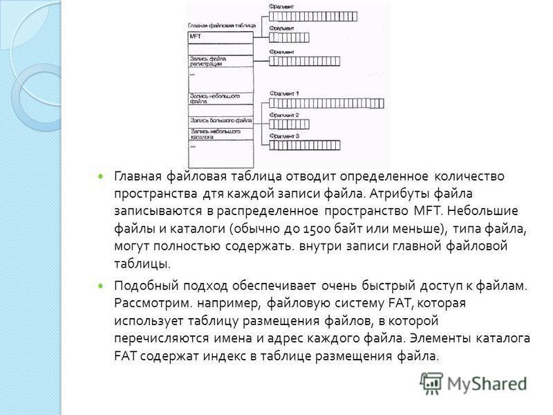 Главная файловая таблица отводит определенное количество пространства для каждой записи файла. Атрибуты файла записываются в распределенное пространство MFT. Небольшие файлы и каталоги ( обычно до 1500 байт или меньше ), типа файла, могут полностью с