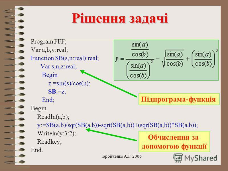 Бройченко А.Г. 20067 Задача Задача Знайти значення виразу. Величини а та b вводить людина.