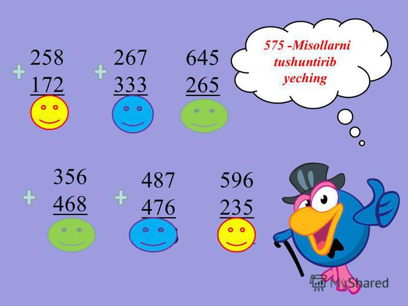 258 172 403 575 -Misollarni tushuntirib yeching 356 468 824 487 476 963 267 333 600 596 235 831 645 265 910