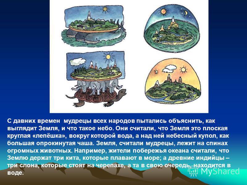 С давних времен мудрецы всех народов пытались объяснить, как выглядит Земля, и что такое небо. Они считали, что Земля это плоская круглая «лепёшка», вокруг которой вода, а над ней небесный купол, как большая опрокинутая чаша. Земля, считали мудрецы,