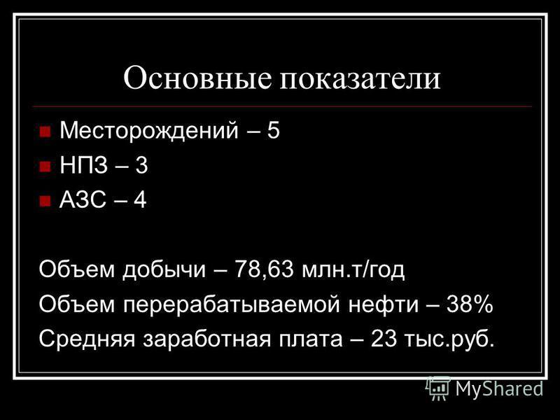 Основные показатели Месторождений – 5 НПЗ – 3 АЗС – 4 Объем добычи – 78,63 млн.т/год Объем перерабатываемой нефти – 38% Средняя заработная плата – 23 тыс.руб.