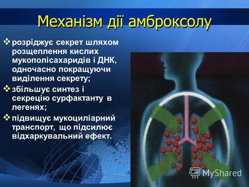 Механізм дії амброксолу розріджує секрет шляхом розщеплення кислих мукополісахаридів і ДНК, одночасно покращуючи виділення секрету; збільшує синтез і секрецію сурфактанту в легенях; підвищує мукоциліарний транспорт, що підсилює відхаркувальний ефект.
