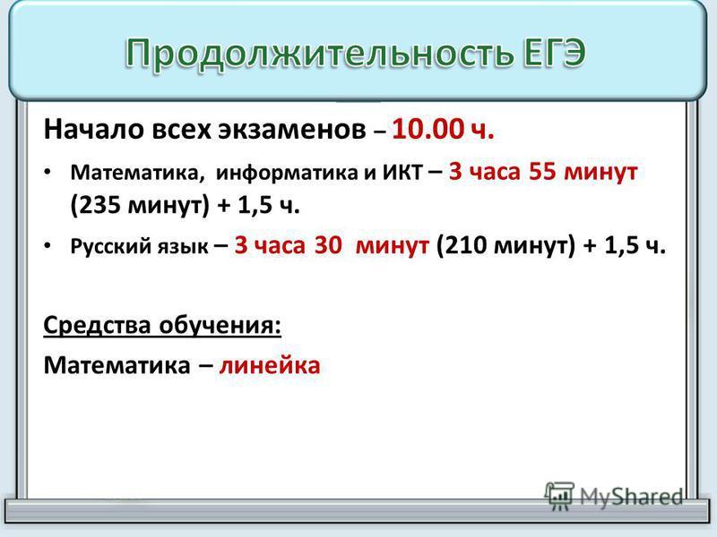 Начало всех экзаменов – 10.00 ч. Математика, информатика и ИКТ – 3 часа 55 минут (235 минут) + 1,5 ч. Русский язык – 3 часа 30 минут (210 минут) + 1,5 ч. Средства обучения: Математика – линейка