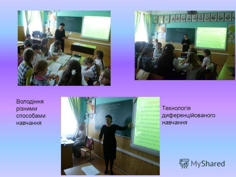 Володіння різними способами навчання Технологія диференційованого навчання