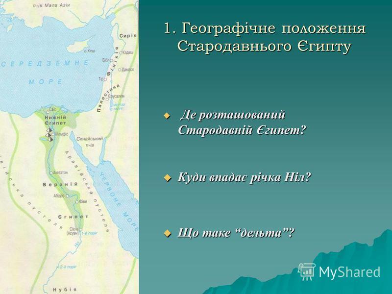 1. Географічне положення Стародавнього Єгипту Куди впадає річка Ніл? Куди впадає річка Ніл? Де розташований Стародавній Єгипет? Де розташований Стародавній Єгипет? Що таке дельта? Що таке дельта?