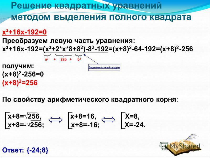 Решение квадратных уравнений методом выделения полного квадрата х²+16 х-192=0 Преобразуем левую часть уравнения: х²+16 х-192=(х²+2*х*8+8 2 )-8 2 -192=(x+8) 2 -64-192=(x+8) 2 -256 получим: (x+8) 2 -256=0 (x+8) 2 =256 По свойству арифметического квадра