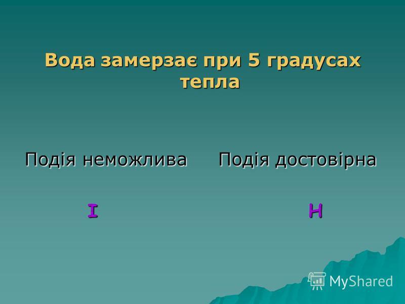 На гральному кубику випаде цифра 3 Подія випадкова Подія неможлива В Т В Т