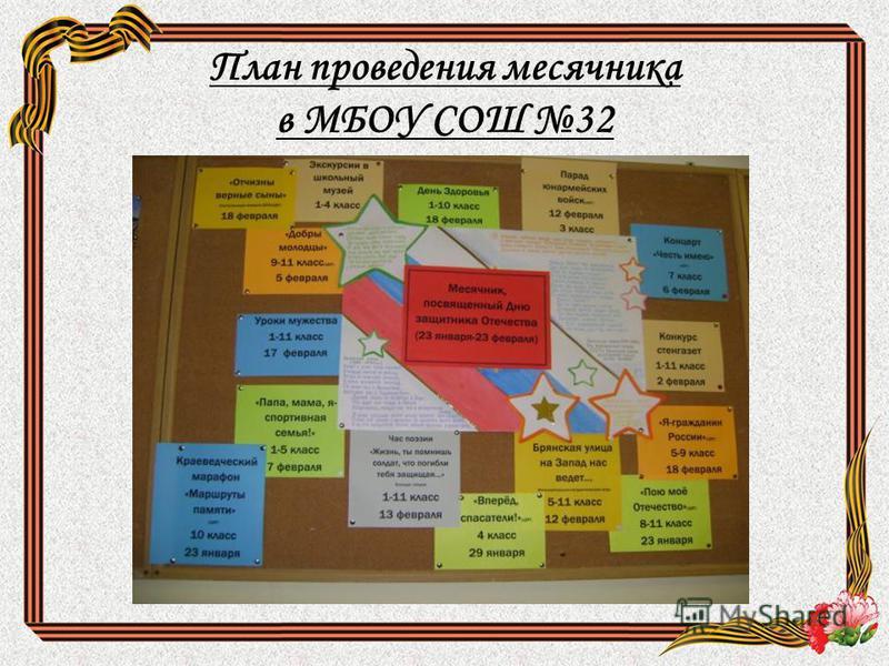 План проведения месячника в МБОУ СОШ 32