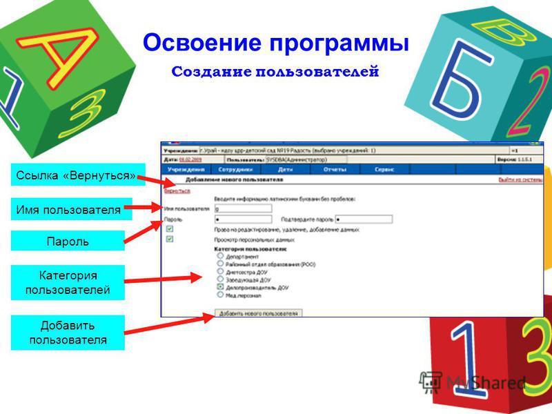 Создание пользователей Освоение программы Ссылка «Вернуться» Имя пользователя Пароль Категория пользователей Добавить пользователя