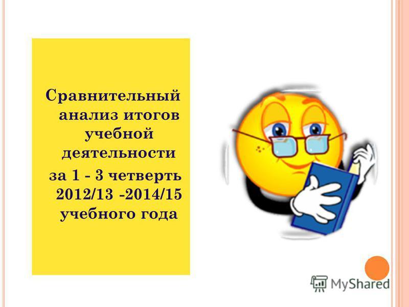 Сравнительный анализ итогов учебной деятельности за 1 - 3 четверть 2012/13 -2014/15 учебного года