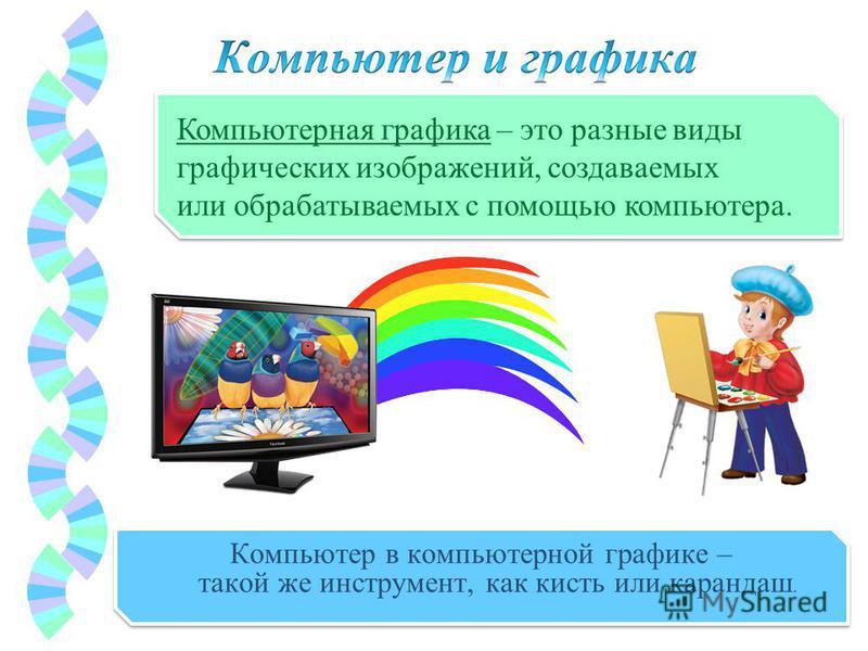Компьютер в компьютерной графике – такой же инструмент, как кисть или карандаш. Компьютерная графика – это разные виды графических изображений, создаваемых или обрабатываемых с помощью компьютера.