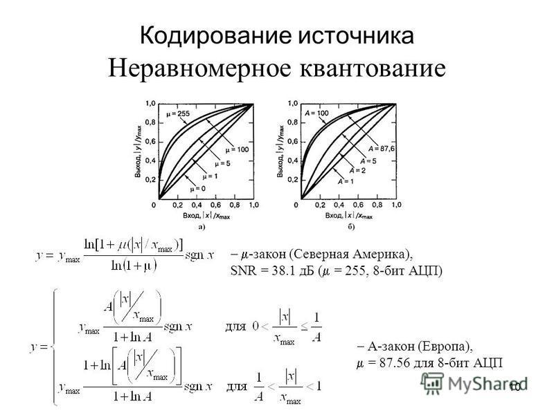 10 Кодирование источника Неравномерное квантование -закон (Северная Америка), SNR = 38.1 дБ ( = 255, 8-бит АЦП) А-закон (Европа), = 87.56 для 8-бит АЦП