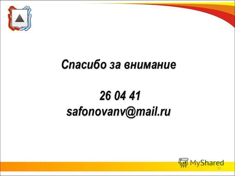 Спасибо за внимание 26 04 41 safonovanv@mail.ru 11