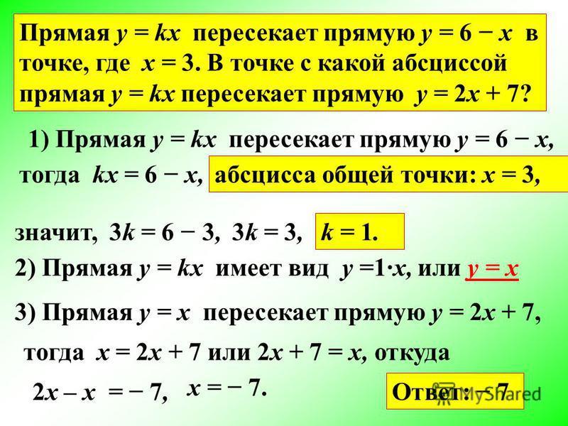 Прямая y = kx пересекает прямую y = 6 x в точке, где х = 3. В точке с какой абсциссой прямая y = kx пересекает прямую y = 2x + 7? 1) Прямая y = kx пересекает прямую y = 6 x, тогда kx = 6 x, абсцисса общей точки: x = 3, значит, 3k = 6 3,3k = 3, k = 1.