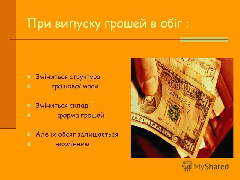 При випуску грошей в обіг : Зміниться структура грошової маси Зміниться склад і форма грошей Але їх обсяг залишається незмінним.