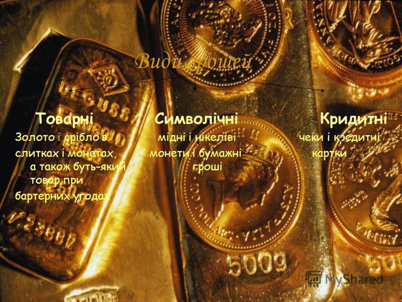 Види грошей Товарні Символічні Кридитні Золото і срібло в мідні і нікеліві чеки і кредитні слитках і монетах, монети і бумажні картки а також буть-який гроші товар при бартерних угодах
