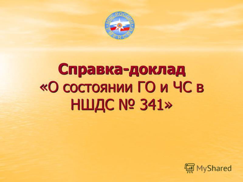Справка-доклад «О состоянии ГО и ЧС в НШДС 341»