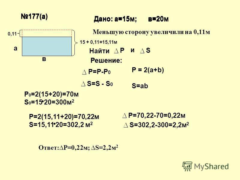 177(а) Дано: а=15 м; в=20 м Найти Р и S Решение: Р=Р-Р 0 S=S - S 0 P = 2(a+b) S=ab 0,11 P=2(15,11+20)=70,22 м S=15,11 20=302,2 м 2 Р=70,22-70=0,22 м S=302,2-300=2,2 м 2 Решение: P 0 =2(15+20)=70 м S 0 =15 20=300 м 2 Ответ:P=0,22 м; S=2,2 м 2 177(а) Д