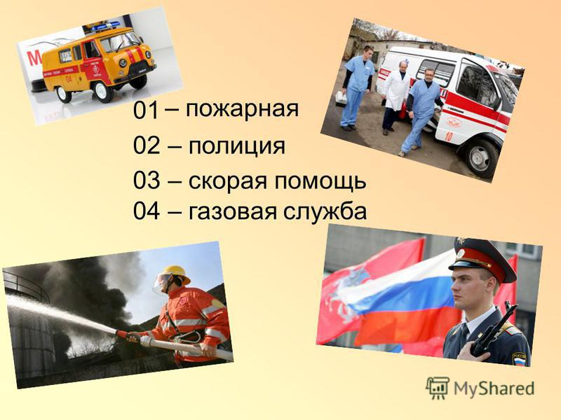 – пожарная – полиция – скорая помощь – газовая служба 01 02 03 04