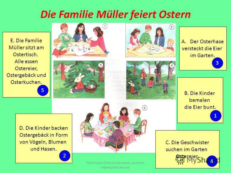 Die Familie Müller feiert Ostern A.Der Osterhase versteckt die Eier im Garten. B. Die Kinder bemalen die Eier bunt. C. Die Geschwister suchen im Garten Ostereier. D. Die Kinder backen Ostergebäck in Form von Vögeln, Blumen und Hasen. E. Die Familie M