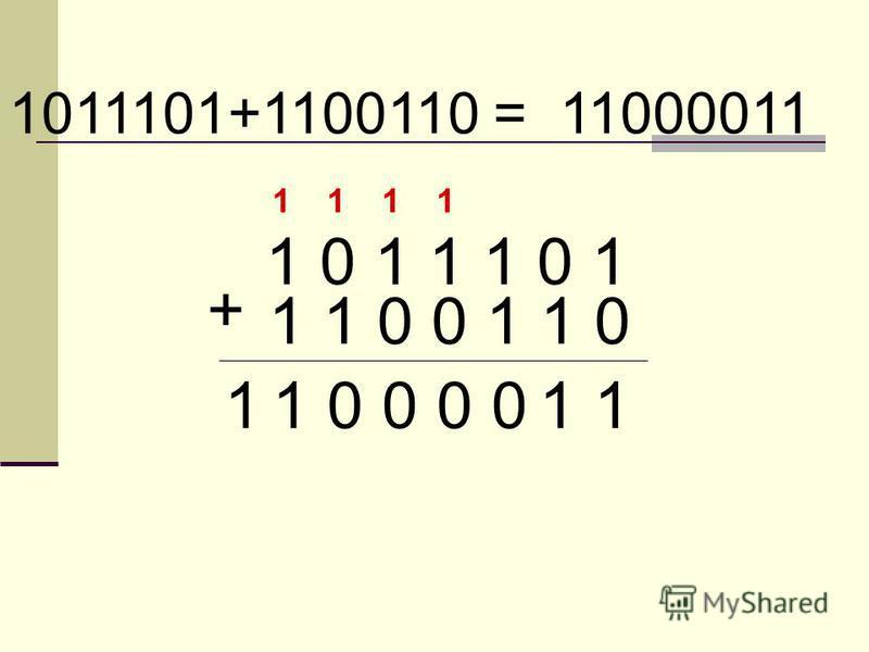 1 0 1 1 1 0 1 1 1 0 0 1 1 0 + 1011101+1100110 = 11000011 1110 1 0 1 0 1 0 1 1