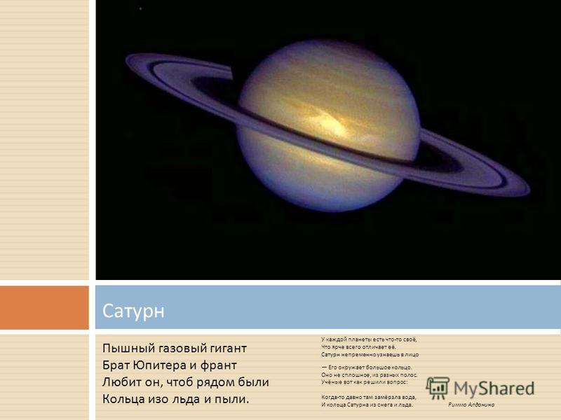 У каждой планеты есть что - то своё, Что ярче всего отличает её. Сатурн непременно узнаешь в лицо Его окружает большое кольцо. Оно не сплошное, из разных полос. Учёные вот как решили вопрос : Когда - то давно там замёрзла вода, И кольца Сатурна из сн