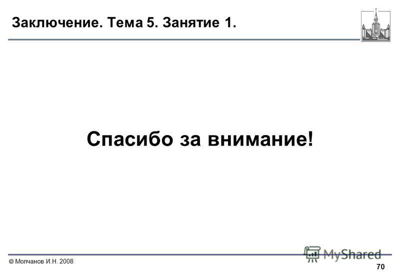 70 Молчанов И.Н. 2008 Заключение. Тема 5. Занятие 1. Спасибо за внимание!