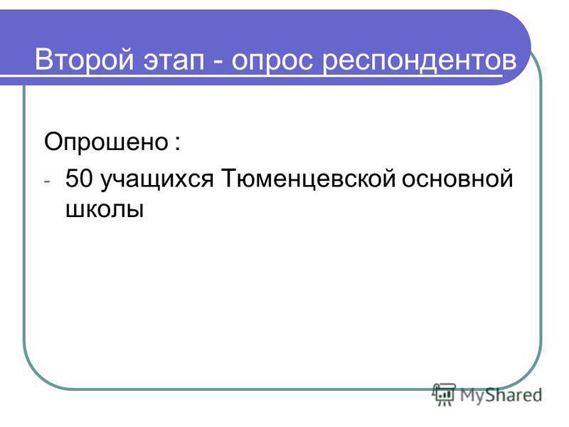 Второй этап - опрос респондентов Опрошено : - 50 учащихся Тюменцевской основной школы