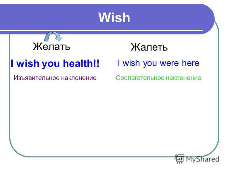 Wish Желать Жалеть I wish you health!! Изъявительное наклонение I wish you were here Сослагательное наклонение