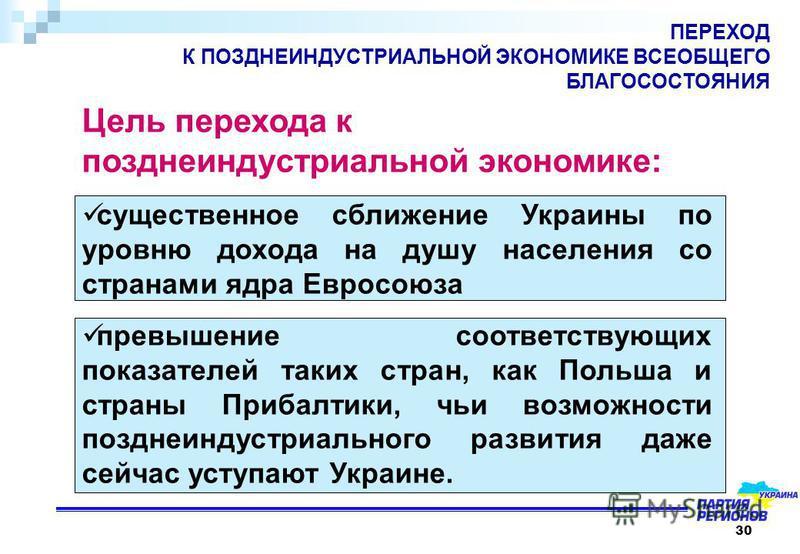30 ПЕРЕХОД К ПОЗДНЕИНДУСТРИАЛЬНОЙ ЭКОНОМИКЕ ВСЕОБЩЕГО БЛАГОСОСТОЯНИЯ Цель перехода к поздние индустриальной экономике: существенное сближение Украины по уровню дохода на душу населения со странами ядра Евросоюза превышение соответствующих показателей