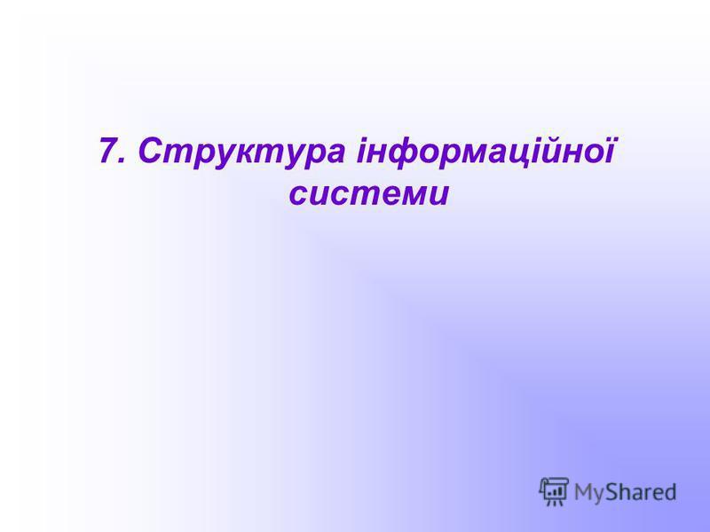7. Структура інформаційної системи