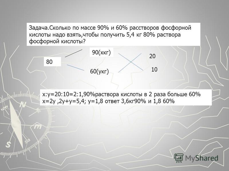 Задача.Сколько по массе 90% и 60% растворов фосфорной кислоты надо взять,чтобы получить 5,4 кг 80% раствора фосфорной кислоты? 80 90(х кг) 60(укг) 20 10 х:у=20:10=2:1,90%раствора кислоты в 2 раза больше 60% х=2 у,2 у+у=5,4; у=1,8 ответ 3,6 кг 90% и 1