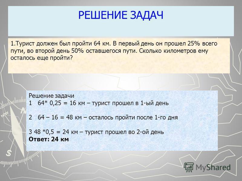 РЕШЕНИЕ ЗАДАЧ Решение задачи 1 64* 0,25 = 16 км – турист прошел в 1-ый день 2 64 – 16 = 48 км – осталось пройти после 1-го дня 3 48 *0,5 = 24 км – турист прошел во 2-ой день Ответ: 24 км 1. Турист должен был пройти 64 км. В первый день он прошел 25%